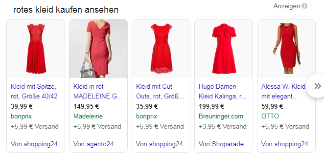 Abbildung der Google Shopping Integration in der Universal Search