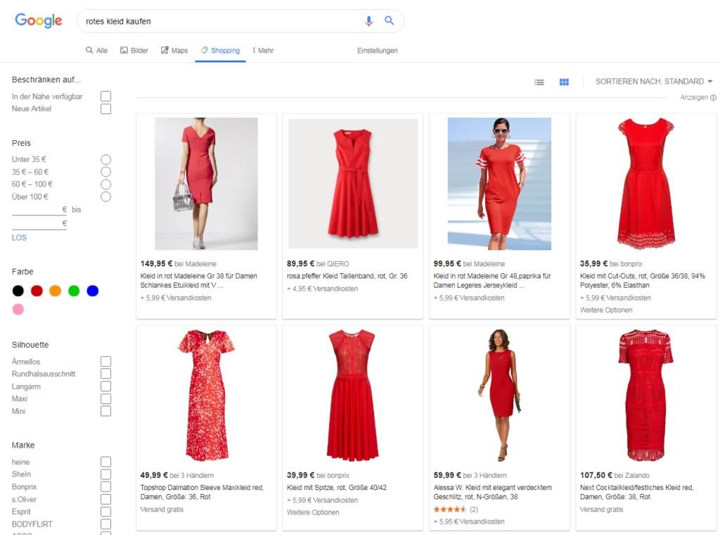 Abbildung Oberfläche von Google Shopping