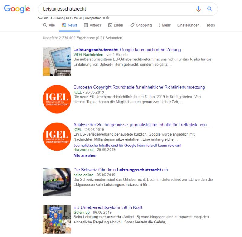 Google News Suche