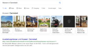 """Knowledge Graph Karussell Anzeige. Suchbegriff: """"Museen in Darmstadt"""""""