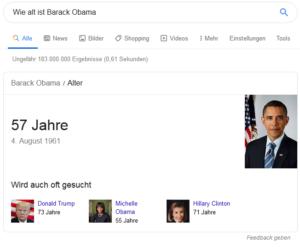 """Direkte Antworten im Knowledge Graph. Suchbegriff: """"Wie alt ist Barack Obama"""""""