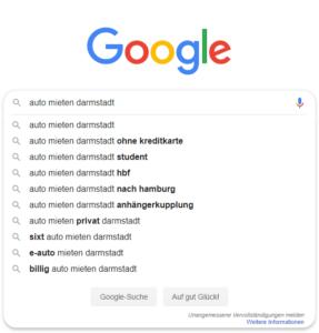 Google Suggest zum Keyword auto mieten darmstadt