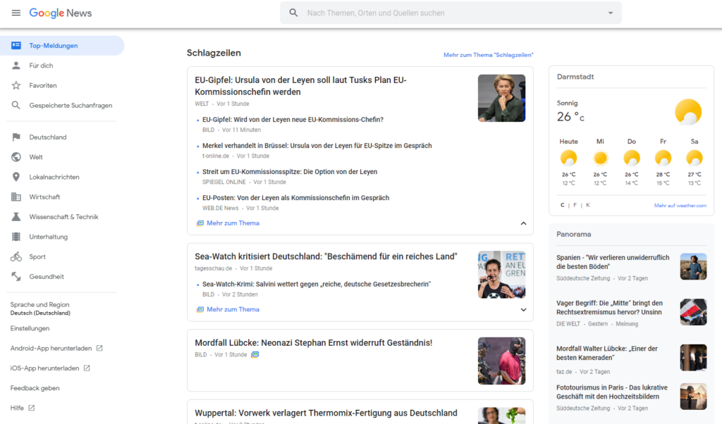 Startseite Google News